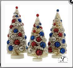 Patriotic * July 4th * Bottle Brush Tree Trio * DIY Vintage Putz Glitter House * Village Inspiration * Mercury Glass Fab!
