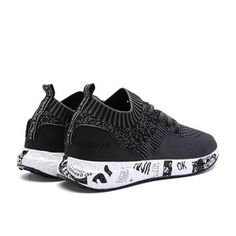 588d0fd3b3ef Men Elastic Flyknit Fabric Light Running Sneakers Lace Up Casual Sneakers  Best Sneakers