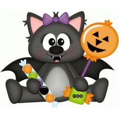 Silhouette Design Store: girl halloween bat with candy