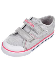 These Nautica sneakers are a  classic. Grippy sole pairs with a cushioning insole. Mid-cut, grommet accents, welted toe with rubberized cap, Velcro straps. Jersey exterior.     Fabric Upper  Imported