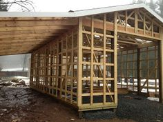 Sullivan County - Ulster County Real Estate -- Catskill Farms Journal: Barns and Garages Building A Pole Barn, Building A House, 20x40 House Plans, Barn Shop, Pole Buildings, Outside Room, Barns Sheds, Garage Design, Garden Structures