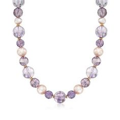 Ross-Simons - 7-10.5mm Multicolored Cultured Pearl and Amethyst Bead Necklace With 14kt Gold Over Sterling - #838586