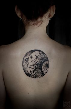 Omg I have never seen a more perfect sun and moon tattoo, I'm getting this! Maybe in color though