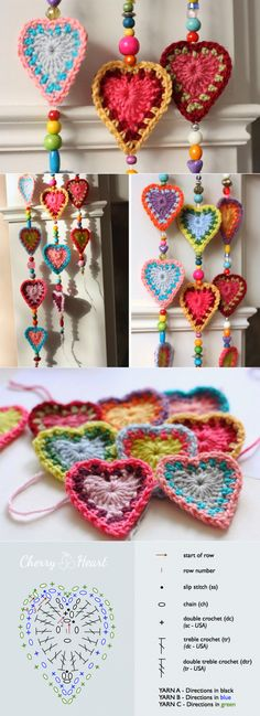 Knitting Patterns Christmas Curtain with hearts and beads, spectacular decor! Unique Crochet, Cute Crochet, Crochet For Kids, Crochet Yarn, Crochet Flowers, Crochet Home, Crochet Crafts, Yarn Crafts, Crochet Projects