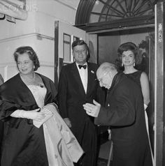 President John Kennedy and his wife Jacqueline welcome composer Igor Stravinsky and his wife Vera to the White House for an honorary dinner. Date Photographed:18 January 1962