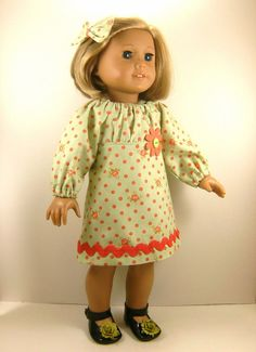American Girl Doll Clothes Peasant Dress Green and Coral Print