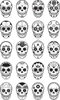 Sugar Skulls... Want the bottom left one added to the stars behind my ears.