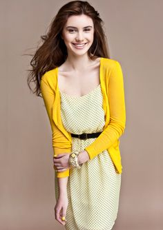 M for Mendocino: yellow dress and cardigan