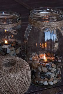 Cozy And Creative 15 DIY Ideas For Decorating Your Home. I like the pebbles inst. - Cozy And Creative 15 DIY Ideas For Decorating Your Home. I like the pebbles instead of the sand tha - Grands Pots, Photo Deco, Garden Lanterns, Coffee Table Styling, Creation Deco, Decoration Design, Diy Candles, Yankee Candles, Shell Candles