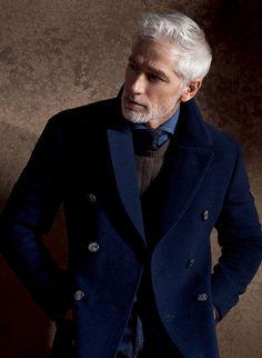 British Style for Men. Pea Coat, Sweater + Tie