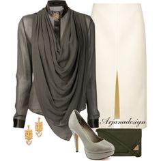"""""""Unconditional Draped Blouse"""" by arjanadesign on Polyvore"""