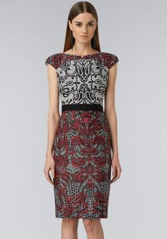Red Cap Sleeve Sateen Sheath Floral Dress pictures
