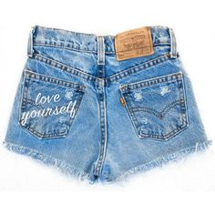 Love Yourself Shorts (93 AUD) ❤ liked on Polyvore featuring shorts, bottoms, denim shorts, vintage denim shorts and vintage shorts