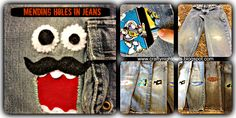 Mending kids jeans with cute faces.  www.craftynightowls.blogspot.com  #sewing  #jeans  #kids clothes