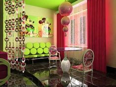 green and red colors for interior decorating
