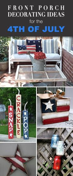 Best Diy Crafts Ideas For Your Home : Front Porch Decorating Ideas for the of July Tons of ideas tutorials & Fourth Of July Decor, 4th Of July Celebration, 4th Of July Decorations, 4th Of July Party, July 4th, Holiday Decorations, Front Porch Decorations, Birthday Decorations, Slime