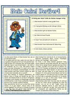 Arbeitsblatt / Lesetext mit4 Aufträgen- Richtig oder falsch? Falsches richtigstellen- Zusammengehörendes zu einer Wortgruppe verbinden- Bilder: Berufe des Onkels ankreuzen- Zuordnung: Bild und Wort (16 Berufe)PräsensUmfang: 4 Seiten (mit Lösung) - DaF Arbeitsblätter