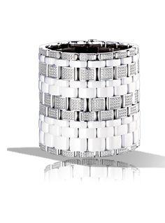 CHANEL - Ultra Cuff in 18K white Gold, white Ceramic and Diamonds. Large version - Chanel Fine Jewelry