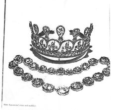 """The third Spencer Tiara formerly belonged to Marie Antoinette. It is pictured here with the Sutherland necklace. (The Sutherlands are a branch of the Spencer family who are also associated with the Churchill""""s and the Dukes of Marlborough. Thery""""re all the same family.) The Sutherland necklace is comprised of 17 of the largest diamonds from a necklace that was owned by Marie Antoinette AND is the necklace that helped spark the French Revolution."""