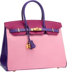 Hermes Special Order Horseshoe 35cm 5P Bubblegum Pink, Tosca & Crocus Epsom Leather Birkin Bag with Gold Hardware.