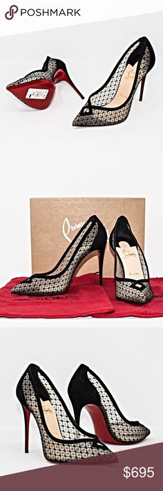 """NEW CHRISTIAN LOUBOUTIN NEOALTO DENTELLE RESILLE Authentic. Made in Italy. New. Never worn. These shoes have dust bags and box. Christian Louboutin neoalto 100 black lace mesh suede point pump. Heels are 4.5"""". Fit note: Christian Louboutin shoes run small. Christian Louboutin Shoes Heels"""