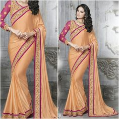 Orange Saree with Pinkish Purple Blouse Product Number:NRNS-MDR8827