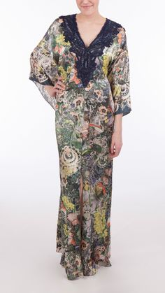 Brand Naeem Khan Style Runway Floral Caftan Dress Material 100% Silk Color Navy/Multi Floral Description One of a kind runway dress. Loosely draped, flowing silhouette. Maxi length. One size fits all.