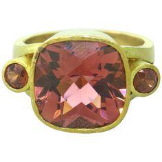 Elizabeth Locke pink tourmaline gold ring