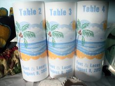 Beach Table Number Luminaries Set of 10 Beach Table by evelynne99, $28.50
