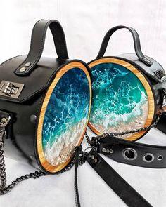 Leather Bags Handmade, Handmade Bags, Leather School Backpack, T Bag, Round Bag, Macrame Bag, Resin Jewelry, Epoxy, Bag Making