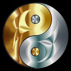 Clipart - Gold And Silver Yin Yang Arte Yin Yang, Ying Y Yang, Yin Yang Art, Ying Yang Wallpaper, Ying Yang Symbol, Yin Yang Designs, Yin Yang Tattoos, Graffiti Wallpaper, Beautiful Nature Wallpaper