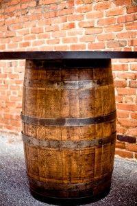 Whiskey barrel bar tables