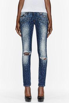 PIERRE BALMAIN Blue slim-fit distressed leopard print jeans