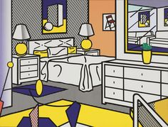 "Roy Lichtenstein (American, 1923–1997) Interior with Mobile Date:    1992 Medium:    Oil and synthetic polymer paint on canvas Dimensions:    10' 10"" x 14' 3"" (330.2 x 434.4 cm)"
