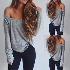 Dec 2016 - Shop T-shirt & Tees Wome Sexy One Shoulder Crew Neck Loose T-shirt Cute Comfy Outfits, Warm Outfits, Casual Fall Outfits, Cool Outfits, Summer Outfits, Fashion Outfits, Womens Fashion, Fasion, Airplane Outfits