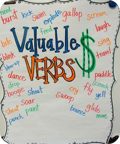 Verb anchor chart and ideas for writing