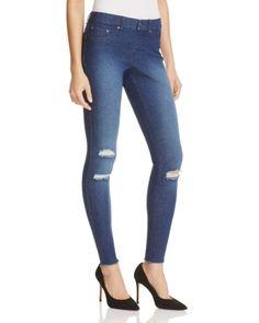 Hue Ripped Knee Denim Leggings In Ink Wash Hue Leggings, Ripped Leggings, Jeggings, Ripped Knees, Ripped Denim, Skinny Jeans, Blue Denim, Blue Jeans, Distressed Leggings