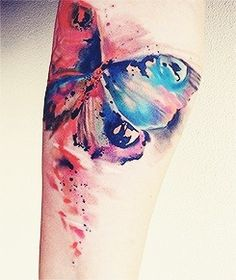 Watercolor tattoo. No outline