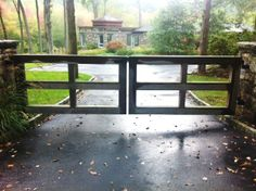 Wood Post and Rail Automated Driveway Gate