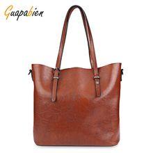Guapabien Ženy kabelka Soft PU Oil Wax Leather Shoulder Bag Značka Women  Bag Velkokapacitní Casual Tote 341e34e6a79