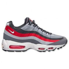 Nike Air Max 95 No Sew Men s Shoes Wolf Grey Cool Grey University Red White  616190-006 5ffb235b4
