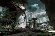 jungle floor guild wars 2 heart of thorns by theo prins Sparrow Volume Pushead Landscape Concept, Fantasy Landscape, Landscape Art, Fantasy Places, Fantasy World, Fantasy Art, Environment Concept Art, Environment Design, Guild Wars 2