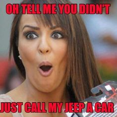 I hate when people call my jeep a car! It's not a car it's a jeep. Pink Jeep, Blue Jeep, Jeep Xj, Jeep Truck, Jeep Rubicon, Jeep Wranglers, Jeep Quotes, Jeep Sayings, Jeep Humor