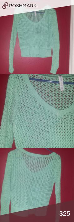 Aeropostale see through mint green sweater In great condition  size medium all cotton RN121728 CA 53201 Aeropostale Sweaters V-Necks