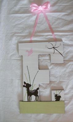 Going to try to make this myself instead of ordering it! Baby Letters, Nursery Letters, Nursery Themes, Nursery Ideas, Bambi Nursery, Girl Nursery, Girl Gifts, Baby Gifts, Woodland Creatures Nursery