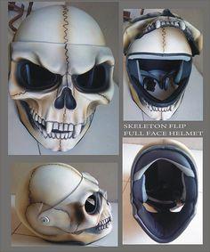 skeleton full face lift helmet This. Full Face Motorcycle Helmets, Custom Motorcycle Helmets, Custom Helmets, Motorcycle Gear, Custom Bikes, Biker Helmets, Skull Helmet, Biker Gear, Helmet Design