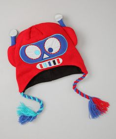 Take a look at this Red Robot Earflap Beanie by Aquarius on #zulily today!