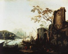 MARINA OF THE TOWERS. after 1640. oil on canvas. 102 × 127 cm. Provenance : painted for Giancarlo de ' Medici; Ricciardi House; 1820, acquired by Granduca Ferdinando III for 1000 scudi by painter F.Acciai.