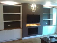 View the designs of Marino Bespoke Interiors - Handmade bespoke fitted kitchens and furniture Alcove Storage, Stair Storage, Living Room Storage, Living Room Decor, Living Rooms, Lounge Colour Schemes, Built In Tv Unit, Alcove Cupboards, Front Room Design