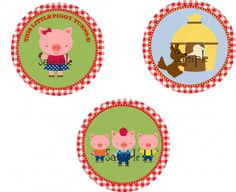 Girl Style Three Little Pigs Personalized Birthday Party Invitation